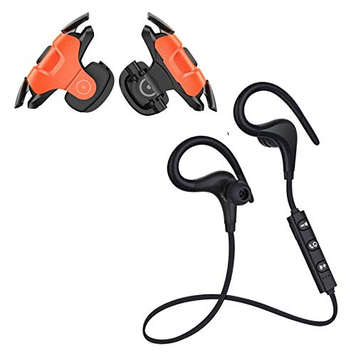 LOWFE QC-11 Wireless Neckband Headset with 6-7 Hour Battery Life, IPX5 Sweatproof Headphones. with Orange Touch Screen Pubg Triggers with L1 RI Shooting Aim Button for All Smartphones