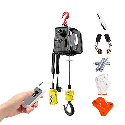 ZXMT Electric Hoist Winch Portable 3 in 1 Electric Chain Hoist 1100lb Heavy Duty Electric Deer Hoist Wireless Remote Control with Overload Protection 7.6m/25ft 110V 1500W