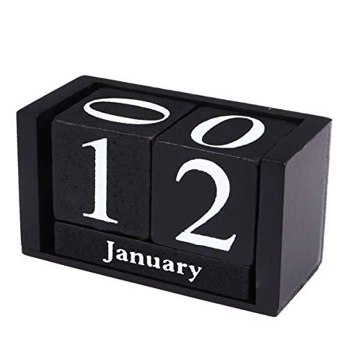Tomaibaby Calendario de Escritorio Calendario Perpetuo de Madera Vintage Visualización de La Fecha Del Mes Del Bloque de Madera para Adorno de Escritorio de La Oficina en Casa ()