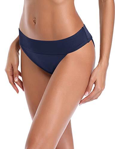 Ocean Blues Women's Hipster Waistband Bikini Bottom Cheeky Swimsuits Navy Blue Red Size M