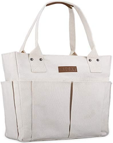 NICAV Canvas Tote Bags for women Large Work Tote Bags with Pockets Zipper product image