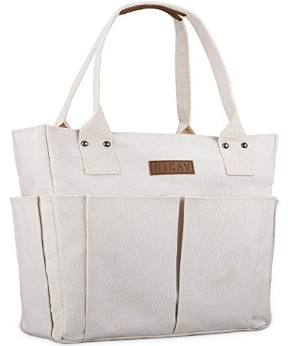 Canvas Tote Bags for Women, Nicav Large Utility Tote Bags with Pockets Zip Top for Teachers Nurses Students School Work