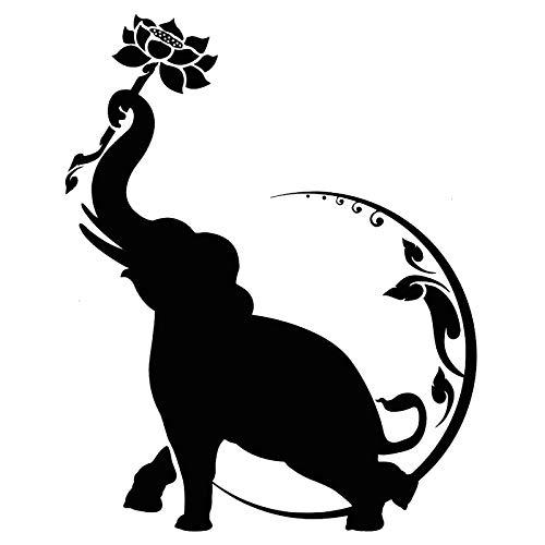 2 Stück, klassische Anime Auto Aufkleber / Aufkleber, Autoaufkleber, Indien Elefant Lotus Flower Moon Mode schwarz Auto Aufkleber / Aufkleber, für LKW Windschutzscheibe, für Auto oder LKW und Minivan,