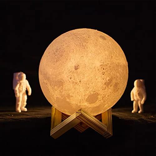 Cakeboy 15 cm Mondlampe, Mondlicht für Kinder Geschenk für Frauen USB-Aufladung Touch Control 3D Mond Warme und weiße Licht Mondlampe