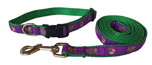 Preston Mardi Gras Dog Collar and Leash Set in Purple Ribbon on Green Nylon Webbing (Extra Small)