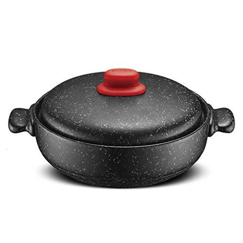 SLINGDA Cocotte avec Couvercle,Céramique Cuisinière Faitout,Vapeur,Chaleur-résistant Marmite Pot De Soupe,Pas-bâton Granit Pierre Cocotte,Slow Stew Pot,Grande Pot De Granit Noir 2.5l