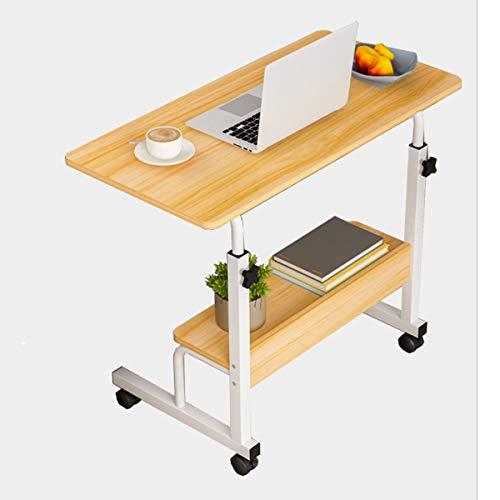 LYLSXY Mesa de Cama, Escritorio para computadora portátil con Ruedas, Muebles Oficina, Altura Ajustable, con estantes Almacenamiento