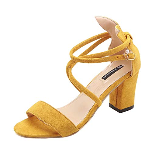 iYmitz Damen High Heels Outdoor Sandalen Frauen Mädchen Böhmischen Mode Flache beiläufige Sandalen Strand Sommer Flache Schuhe Schlappen(Gelb,EU/36)