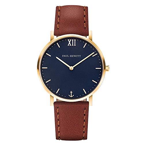 PAUL HEWITT Armbanduhr Männer Edelstahl Sailor Line Blue Lagoon - Herren Uhr Lederarmband (Braun), Herren Armbanduhr (Gold), blaues Ziffernblatt