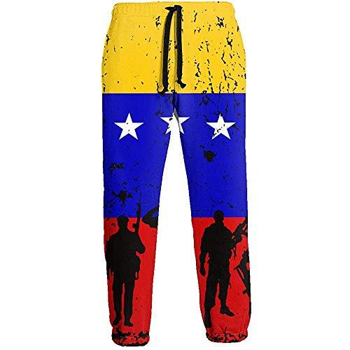 Emild Venezuela Bandera Soldados Veteranos Pantalones de chándal Largos para Hombre Entrenamiento Pantalones Deportivos al Aire Libre