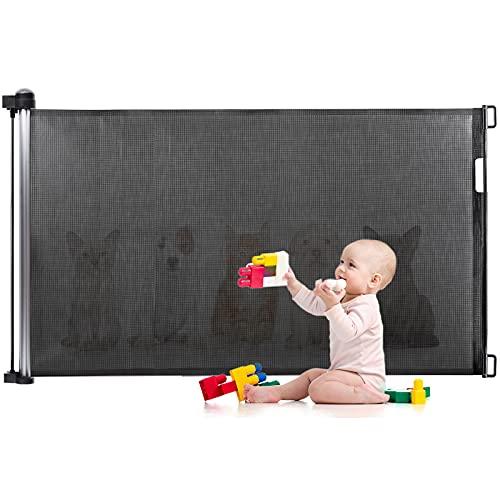 Barrière de Sécurité pour Bébés et Chiens, Barrière de Sécurité Escalier Eccomum, Barrière de Sécurité à Enrouleur Extensible, 89 cm Haut, Facile à Fixer