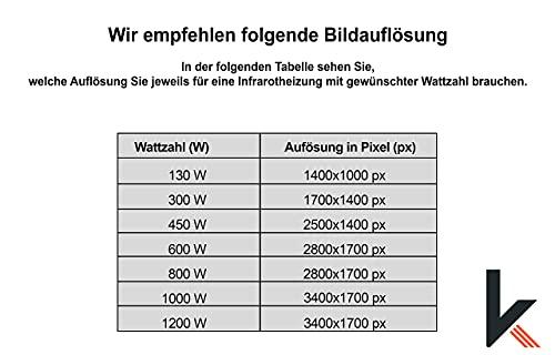 Eigenes Bild & Foto Infrarot Heizung mit TÜV vom Deutschen Hersteller mit 5 Jahren Herstellergarantie made in Germany (Lade ein eigenes Motiv hoch und mach dir dein persönliches Einzelstück) (600W)