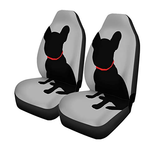 Pinbeam Car Seat Covers Brown French Dog Breed Cute Pet Animal Bulldog Gray Set of 2 Auto Accessories Protectors Car Decor Universal Fit for Car Truck SUV
