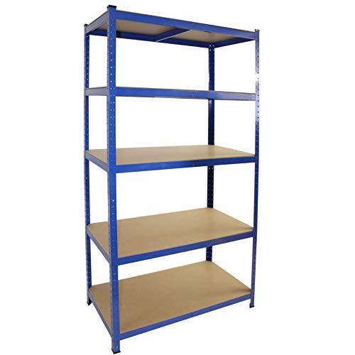 Steckregal verzinkt oder blau, 875 kg, Werkstattregal, Regal, Kellerregal, Schwerlastregal (Modell 11 / 200x120x60cm / blau)