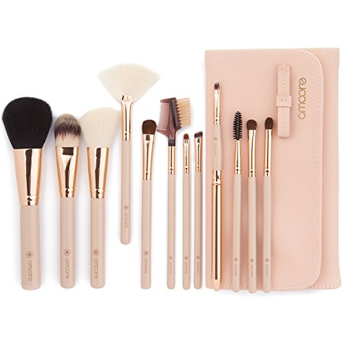 amoore Make Up Pinsel Pinselset Make Up Pinsel Sets Make Up Buersten mit der PU Leder Kosmetiktasche...