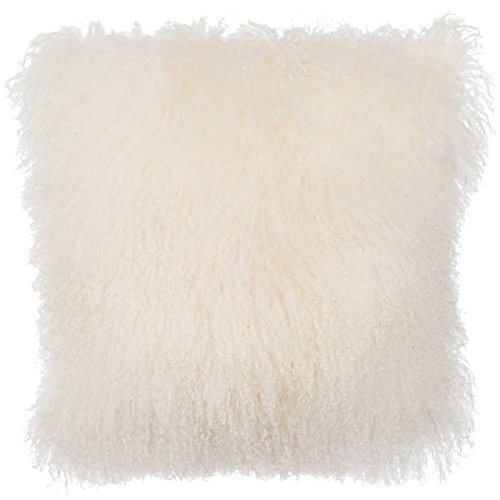 SLPR Mongolian Lamb Fur Throw Pillow Cover (16'' x 16'', Natural White) | Real Sheep Fur Decorative Cushion Cover Case