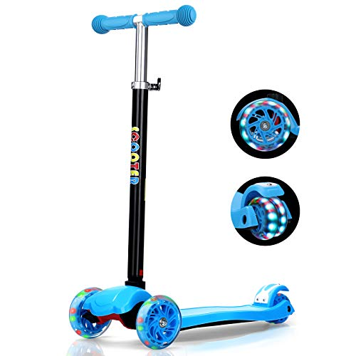 IMMEK Patinete de 3 Ruedas Scooter con Led Luces Manillar Altura Ajustable 71cm-83cm, Niños Adjustable Handles & Lightweight Construction