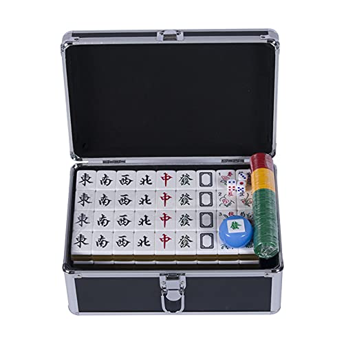 JLFFYJ Mahjong de Viaje, Juego de Mahjong Chino Clásico, Portátil con 144 Azulejos Acrílicos Mahjong, Juego de Mahjong/Mahjong Club de Lujo Tradicional Chino,Negro,40mm