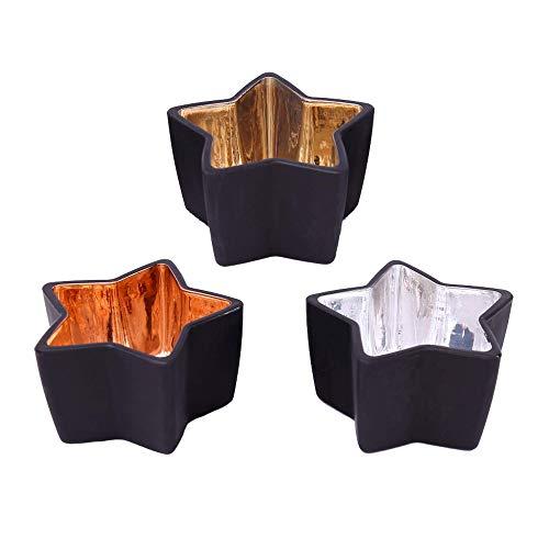 Premium Windlicht 3er Set - Schwarze Teelichthalter aus Glas mit Gold, Kupfer und Silber Beschichtung Innenseite - Teelicht-Gläser Weihnachtsdeko Moderne Tisch-Deko Wohnung - Industrial Look (Sterne)