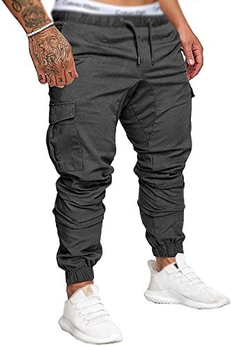Socluer Cinturón de algodón elástico de los Hombres Pantalones de Carga Largos con cordón Bolsillos Laterales Pantalones Deportivos Pantalones de Jogging Ropa Deportiva