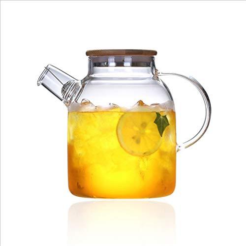 QAX Jarra de agua con tapa y boquilla, jarra de jugo para agua caliente/fría, té de limón y zumo, 1000 ml