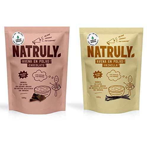 NATRULY Flocon d'avoine 2 Goût Chocolat et Vanille BIO, Avoine en poudre Sans Sucre, Sans Gluten, 1 KG
