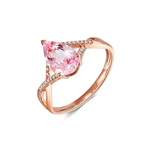 Beydodo Trauringe 18 Karat Rotgold, 1.15ct Morganit Ring Rosegold Damen Verlobungsring mit Diamant Echt 61 (19.4)