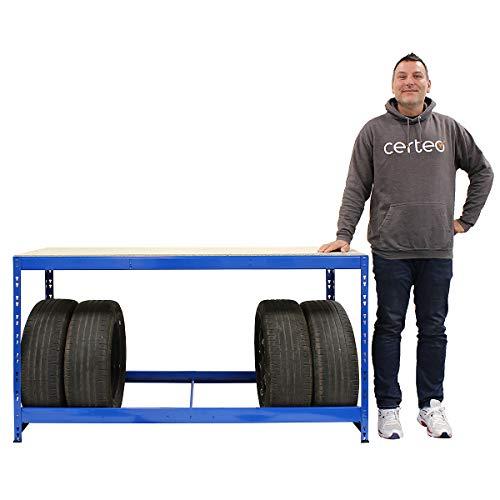 Certeo Reifenregal   Für 8 Reifen   HxBxT 900 x 1600 x 600 mm   Inklusive Werkbank   Garagenregal Kellerregal Werkstattregal