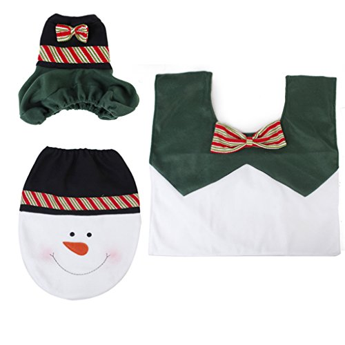 3pcs Christmas Decorations copriwater copertura e tappeto bagno Set Happy Snowman
