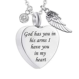 God has You in his arms with Angel Wing Charm Cremation Ashes Jewelry Keepsake Memorial Urn Necklace with Birthstone Crystal