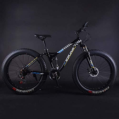 Adult Fat Tire Mountain Bike, Beach Snow Bike, Double Disc Brake Cruiser Bikes, Professional Grade Mens Mountain Bicycle 26 Inch Wheels,C,24 Speed