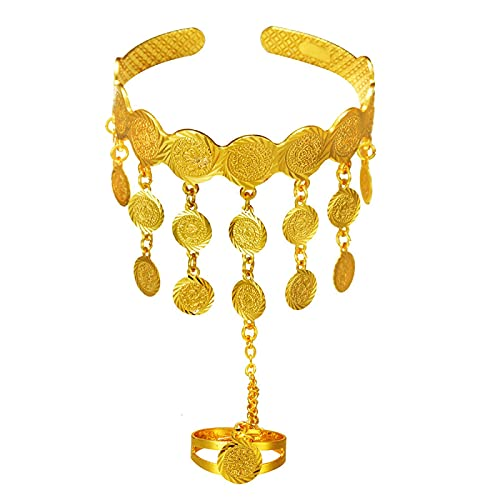 CLEARNICE Pulsera De Borlas con Colgante De Moneda De Oro para Mujer, Joyería Etíope De Cobre De Color Dorado, Brazalete Africano, Regalo De Boda