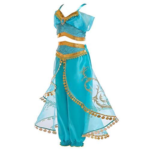 Fenical 2 Pezzi Costume Cosplay Aladdin Princess Jasmine per Vestiti per Ragazze con Paillettes