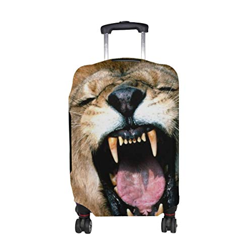 Lion Face Teeth Anger Aggression Mane Pattern Print Travel Luggage Protector Baggage Suitcase Cover Fits 18-21 Inch Luggage