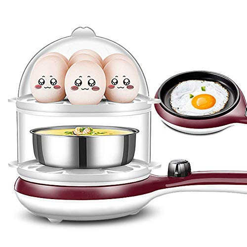 Unbekannt Kleiner Eierkocher Multifunktionale Doppelschicht-Mini-Eierkocher Automatische Abschaltbratpfanne DREI-in-Eins-Frühstücksmaschine B.