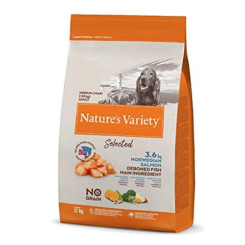 Nature's Variety Selected - Pienso para perros adultos con salmón noruego sin espinas, 12 kg