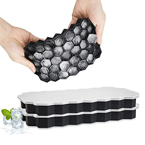 Eiswürfelform Silikon 2er Pack, Besvic 37-Fach Eiskugelform Mit Deckel BPA Frei Eiswürfel Form Ice Cube Tray einfach herauszunehmen für Family, Party und Bars für Bier Whisky Cocktails Saft