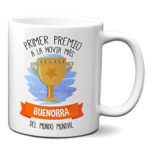 Planetacase Taza Primer Premio A La Novia Mas Buenorra del Mundo Mundial - Tazas para Novias Tia Buena Aniversario Cumpleaños para Chica