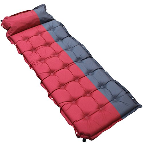 gonflable Tapis de couchage étanche Pad de sommeil avec taie d'oreiller, Extra épais tapis Peut être cousu pour camping randonnée. Convient pour un usage intérieur et extérieur. (190*65*5 cm)., red+grey