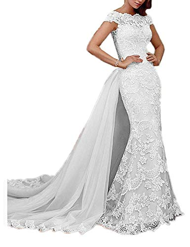 RYANTH Women's Long Mermaid Lace Wedding Dresses with Detachable Train for Bride Evening Prom Gown RWD33 Ivory 26W