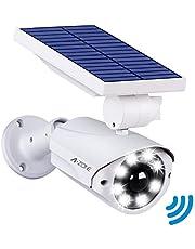 センサーライト 屋外 ソーラーライト A-ZONE 人感センサーライト 防犯カメラ型 IP66防水・防塵 省エネ 太陽光充電 配線・電源不要 ダミーカメラ 8LED 自動夜間点灯 人感検知 360°角度調節可能 壁掛け庭先 玄関周りなど対応