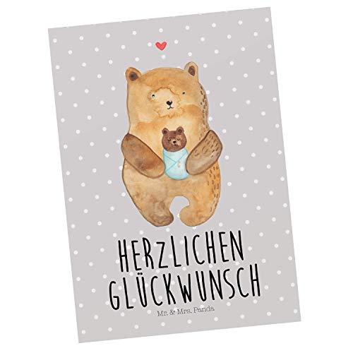 Mr. & Mrs. Panda Einladung, Karte, Postkarte Bär mit Baby mit Spruch - Farbe Grau Pastell