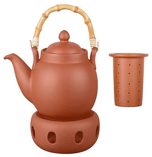 Aricola Ton Teekanne Tenno 1,1 Liter mit Tonsieb, Bambushenkel und Stövchen. Handgefertigt, Original