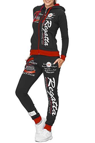 Damen Trainingsanzug | Regatta 672 | Jogging-Anzug aus 100% Baumwolle | Trainings-Jacke mit Reißverschluss | Jogging-Hose mit Tunnelzug und Zugband | Sport-Anzug (XXL-fällt größer aus, Schwarz-Rot)