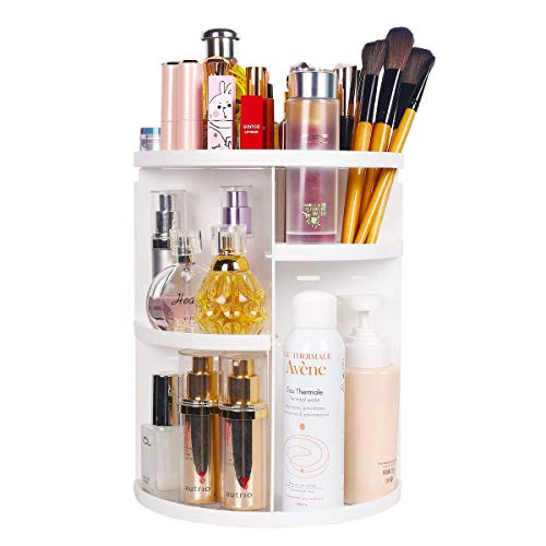sanipoe 360 Makeup Organizer, DIY Detachable Spinning Cosmetic Makeup Caddy Storage DIsplay Bag Case Large Capacity Makeup Box Acrylic Vanity Organizer Box, Great for Countertop and Bathroom, White