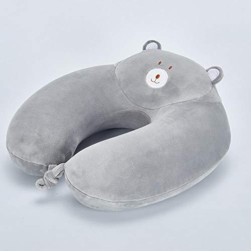 Suntai11 Almohada en Forma de U, Almohada para el Cuello de Espuma con Memoria de Dibujos Animados, Almohada Suave para el Cuello, Adecuada para Descansar-Gris_Los 30 * 30cm