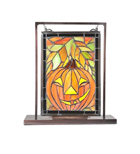 "Meyda Tiffany 65267 Jack O'Lantern Lighted Decorative Mini Tabletop Window, 9.5"" Width x 10.5"" Height"