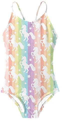 RAISEVERN Ein Stück Badeanzug Mehrfarben,Unicorn White,5-6Jahre (Etikette M)
