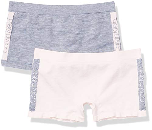 Calvin Klein Girls' Little Seamless Play Short, Multipack, ck Pink Heather Color Block, ck Heather Purple Color Block, X-Large