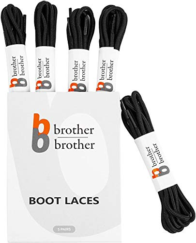 "BB BROTHER BROTHER Black Round Boot Shoe Laces (5 Pairs), Heavy Duty and Non Slip Replacement Shoelaces, 3/16"" Thick 3.5mm Shoe Strings for Men's and Women's Work, Hiking, Winter, Walking Boots"